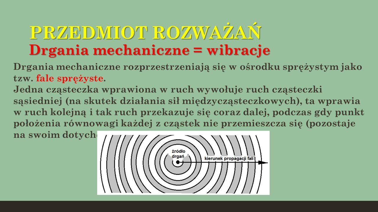 PRZEDMIOT ROZWAŻAŃ Drgania mechaniczne = wibracje Drgania mechaniczne rozprzestrzeniają się w ośrodku sprężystym jako tzw. fale sprężyste. Jedna cząst