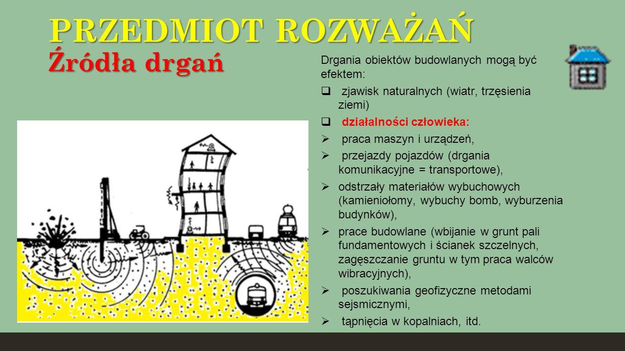 PRZEDMIOT ROZWAŻAŃ Źródła drgań Drgania obiektów budowlanych mogą być efektem:  zjawisk naturalnych (wiatr, trzęsienia ziemi)  działalności człowiek
