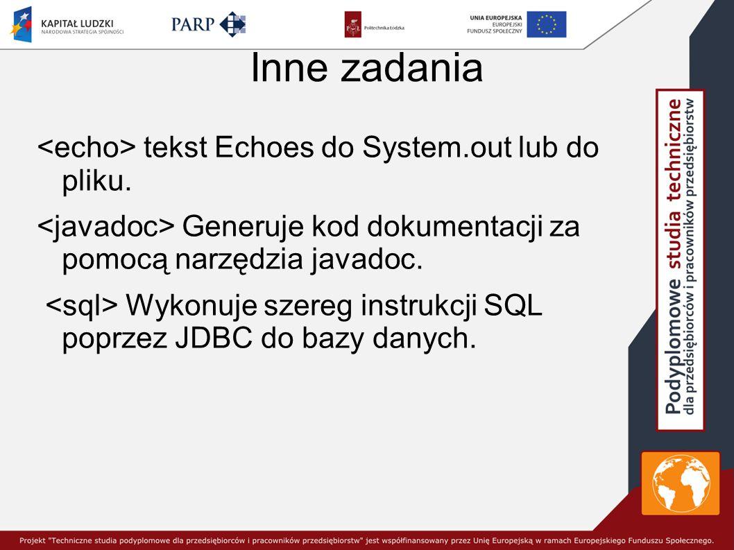 Inne zadania tekst Echoes do System.out lub do pliku.
