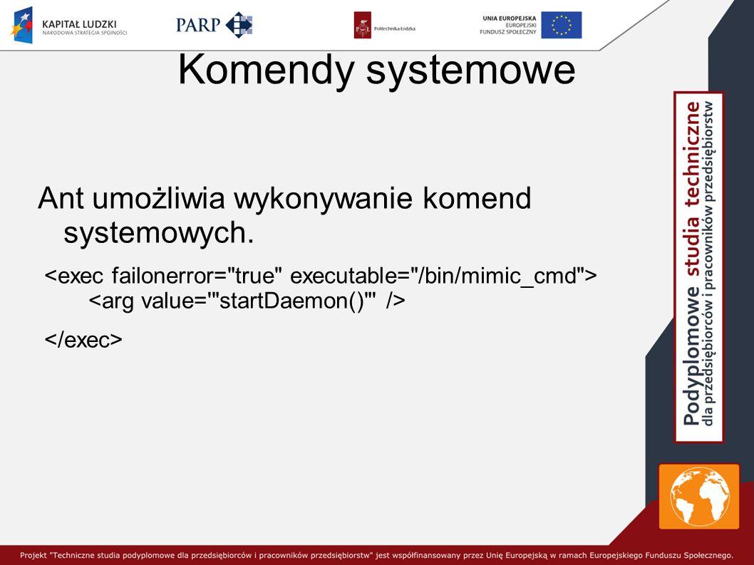 Komendy systemowe Ant umożliwia wykonywanie komend systemowych.