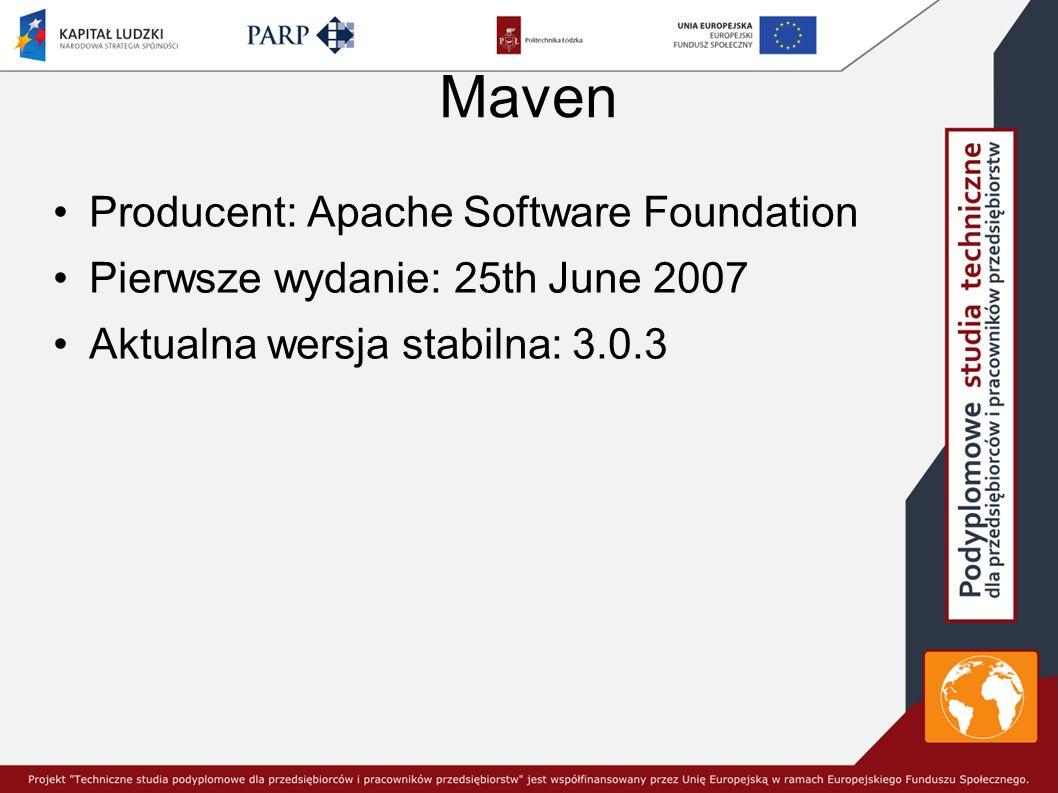 Maven Producent: Apache Software Foundation Pierwsze wydanie: 25th June 2007 Aktualna wersja stabilna: 3.0.3