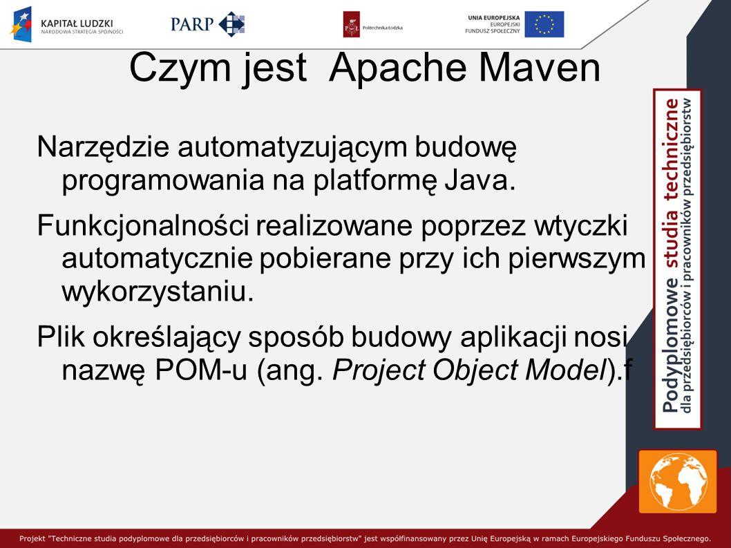 Czym jest Apache Maven Narzędzie automatyzującym budowę programowania na platformę Java.