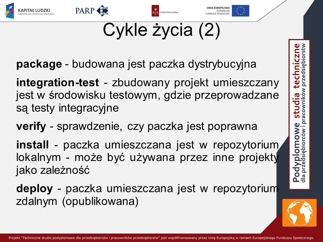 Cykle życia (2) package - budowana jest paczka dystrybucyjna integration-test - zbudowany projekt umieszczany jest w środowisku testowym, gdzie przeprowadzane są testy integracyjne verify - sprawdzenie, czy paczka jest poprawna install - paczka umieszczana jest w repozytorium lokalnym - może być używana przez inne projekty jako zależność deploy - paczka umieszczana jest w repozytorium zdalnym (opublikowana)