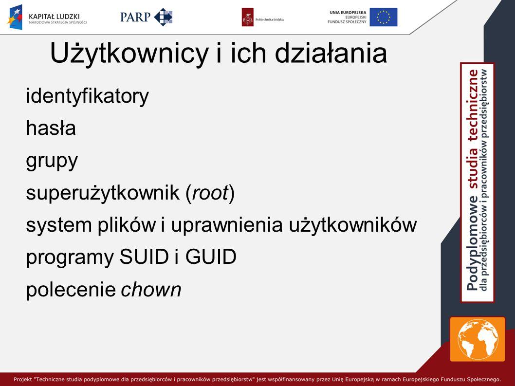 Użytkownicy i ich działania identyfikatory hasła grupy superużytkownik (root) system plików i uprawnienia użytkowników programy SUID i GUID polecenie chown