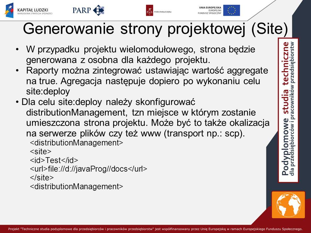 Generowanie strony projektowej (Site) W przypadku projektu wielomodułowego, strona będzie generowana z osobna dla każdego projektu.