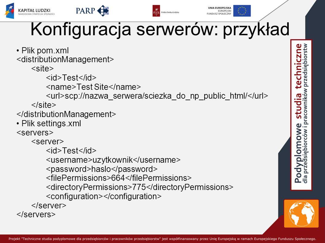 Konfiguracja serwerów: przykład Plik pom.xml Test Test Site scp://nazwa_serwera/sciezka_do_np_public_html/ Plik settings.xml Test uzytkownik haslo 664 775