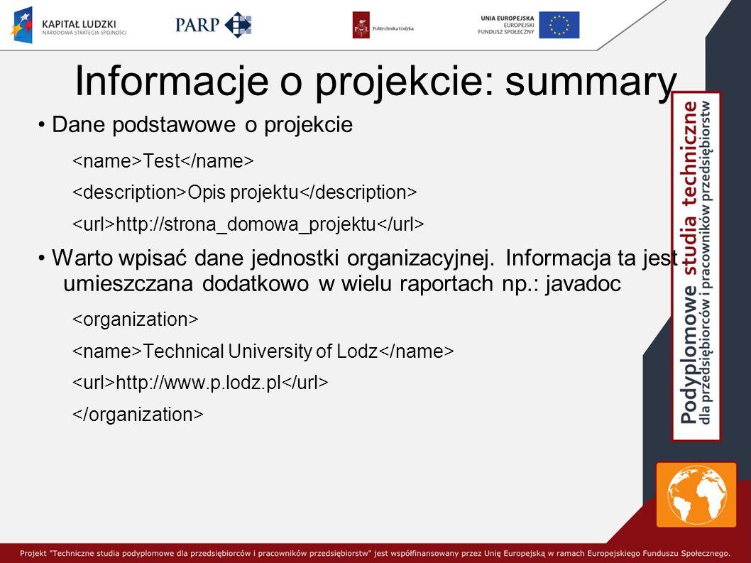 Informacje o projekcie: summary Dane podstawowe o projekcie Test Opis projektu http://strona_domowa_projektu Warto wpisać dane jednostki organizacyjnej.