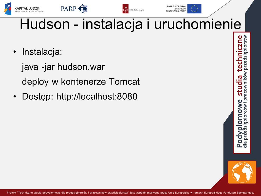 Hudson - instalacja i uruchomienie Instalacja: java -jar hudson.war deploy w kontenerze Tomcat Dostęp: http://localhost:8080