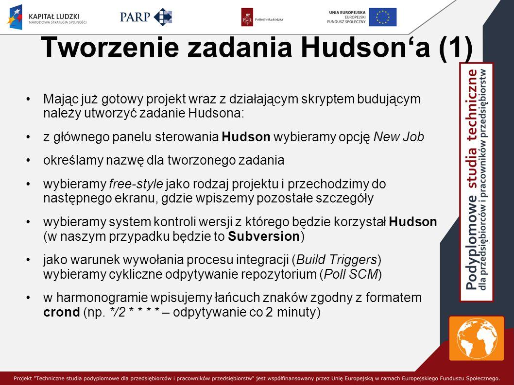 Tworzenie zadania Hudson'a (1) Mając już gotowy projekt wraz z działającym skryptem budującym należy utworzyć zadanie Hudsona: z głównego panelu sterowania Hudson wybieramy opcję New Job określamy nazwę dla tworzonego zadania wybieramy free-style jako rodzaj projektu i przechodzimy do następnego ekranu, gdzie wpiszemy pozostałe szczegóły wybieramy system kontroli wersji z którego będzie korzystał Hudson (w naszym przypadku będzie to Subversion) jako warunek wywołania procesu integracji (Build Triggers) wybieramy cykliczne odpytywanie repozytorium (Poll SCM) w harmonogramie wpisujemy łańcuch znaków zgodny z formatem crond (np.
