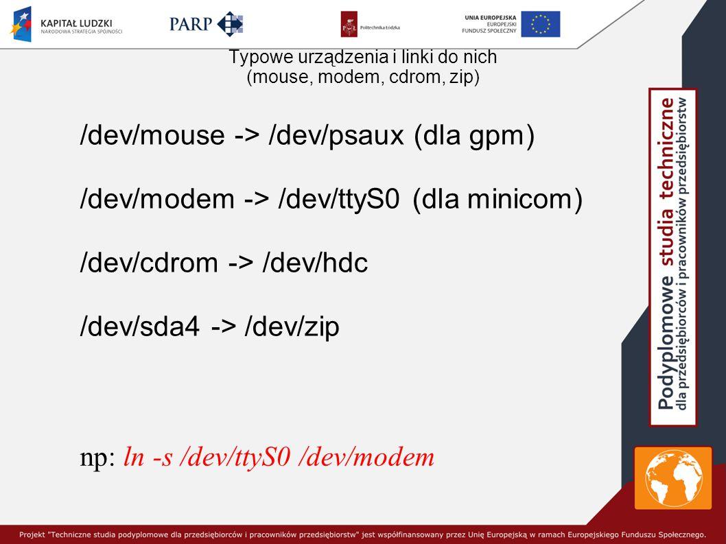Typowe urządzenia i linki do nich (mouse, modem, cdrom, zip) /dev/mouse -> /dev/psaux (dla gpm) /dev/modem -> /dev/ttyS0 (dla minicom) /dev/cdrom -> /dev/hdc /dev/sda4 -> /dev/zip np: ln -s /dev/ttyS0 /dev/modem