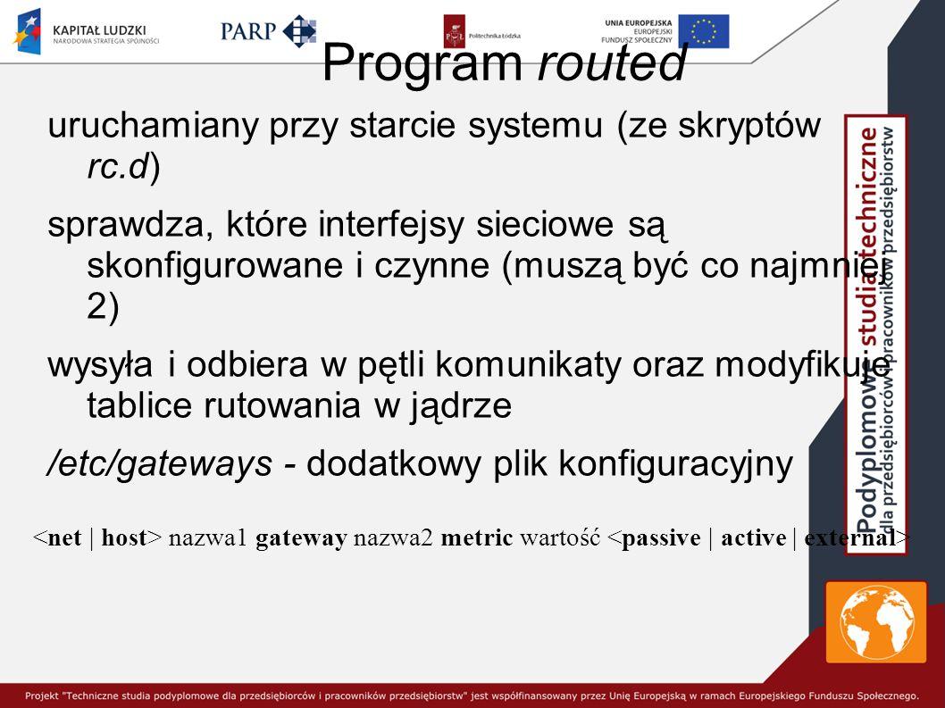 Program routed uruchamiany przy starcie systemu (ze skryptów rc.d) sprawdza, które interfejsy sieciowe są skonfigurowane i czynne (muszą być co najmniej 2) wysyła i odbiera w pętli komunikaty oraz modyfikuje tablice rutowania w jądrze /etc/gateways - dodatkowy plik konfiguracyjny nazwa1 gateway nazwa2 metric wartość