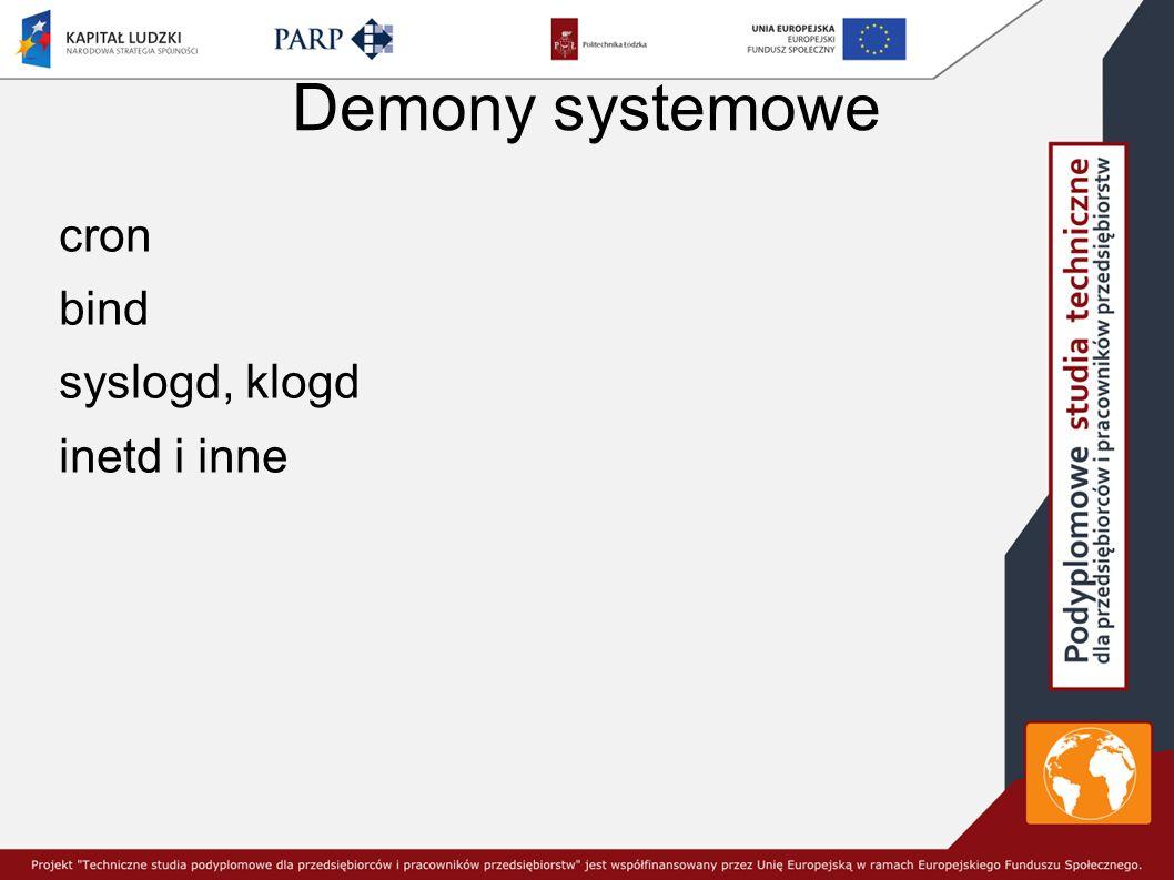 Demony systemowe cron bind syslogd, klogd inetd i inne