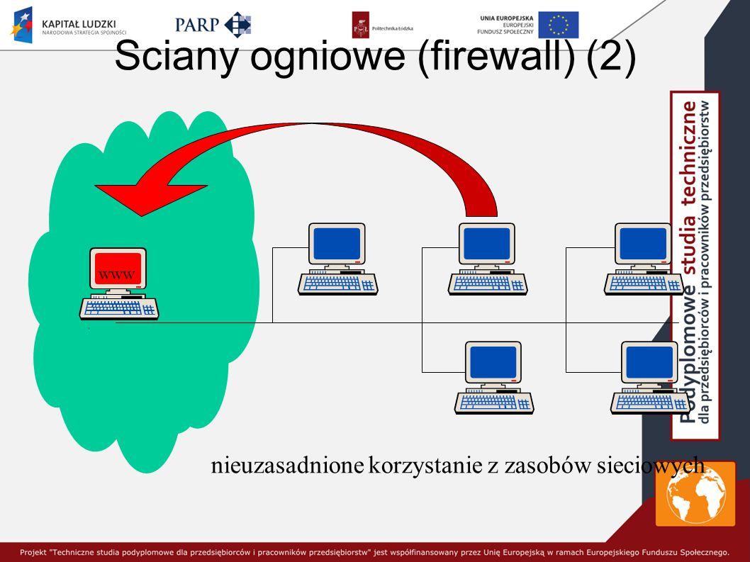 Sciany ogniowe (firewall) (2) nieuzasadnione korzystanie z zasobów sieciowych www