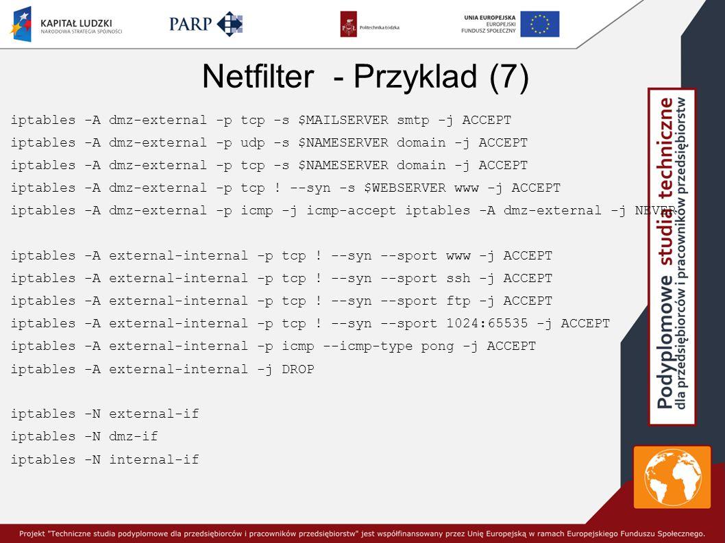 Netfilter - Przyklad (7) iptables -A dmz-external -p tcp -s $MAILSERVER smtp -j ACCEPT iptables -A dmz-external -p udp -s $NAMESERVER domain -j ACCEPT iptables -A dmz-external -p tcp -s $NAMESERVER domain -j ACCEPT iptables -A dmz-external -p tcp .