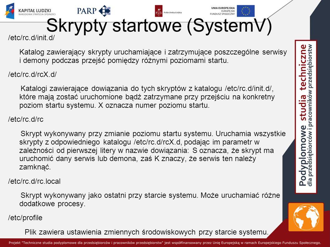 Skrypty startowe (SystemV) /etc/rc.d/init.d/ Katalog zawierający skrypty uruchamiające i zatrzymujące poszczególne serwisy i demony podczas przejść pomiędzy różnymi poziomami startu.