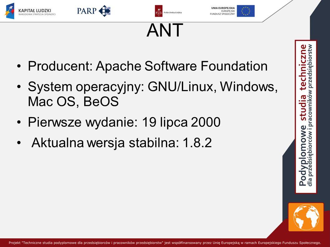 ANT Producent: Apache Software Foundation System operacyjny: GNU/Linux, Windows, Mac OS, BeOS Pierwsze wydanie: 19 lipca 2000 Aktualna wersja stabilna: 1.8.2