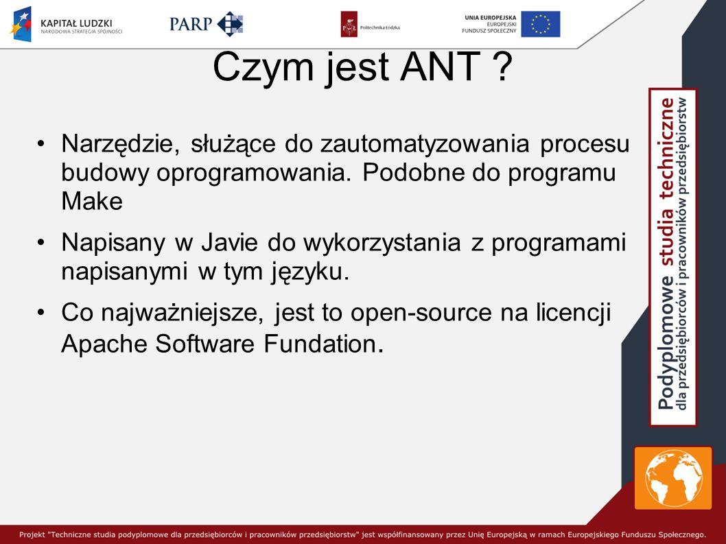 Czym jest ANT .Narzędzie, służące do zautomatyzowania procesu budowy oprogramowania.