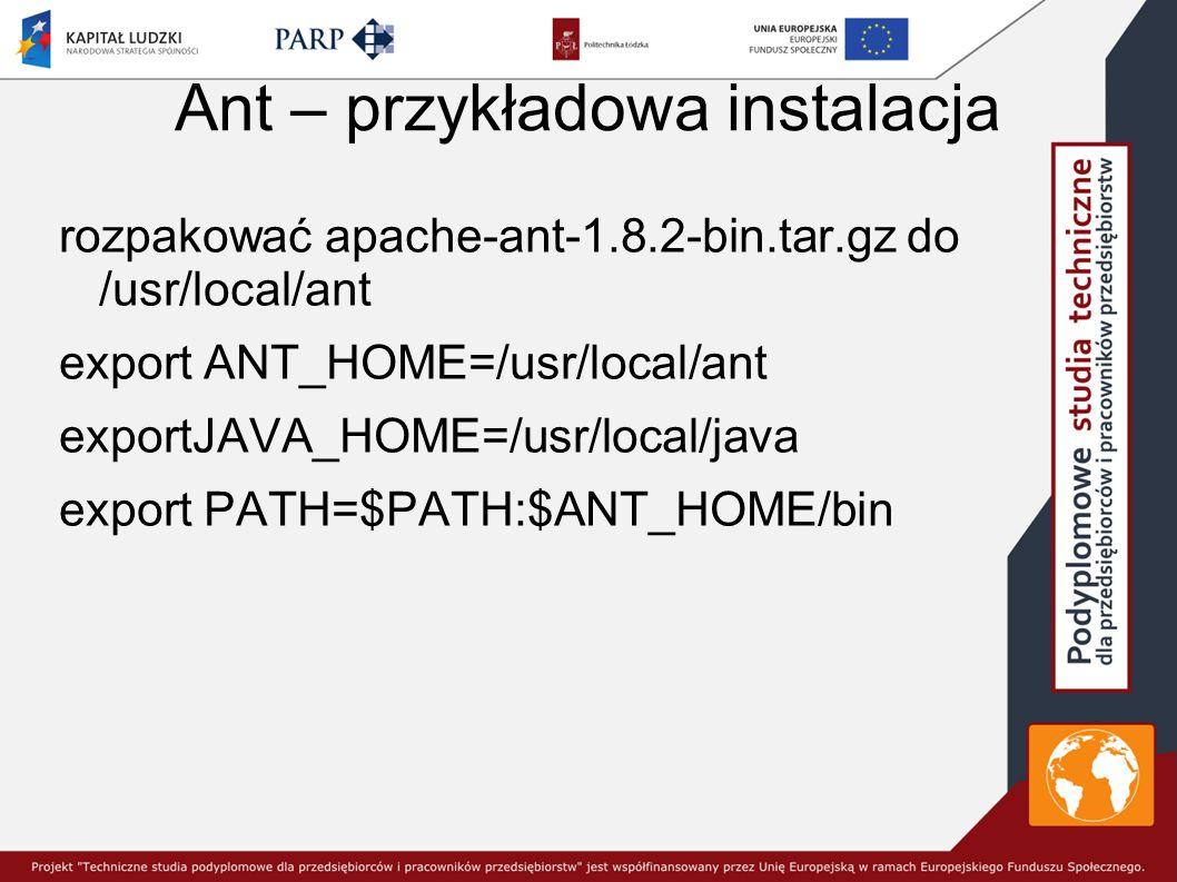 Ant – przykładowa instalacja rozpakować apache-ant-1.8.2-bin.tar.gz do /usr/local/ant export ANT_HOME=/usr/local/ant exportJAVA_HOME=/usr/local/java export PATH=$PATH:$ANT_HOME/bin