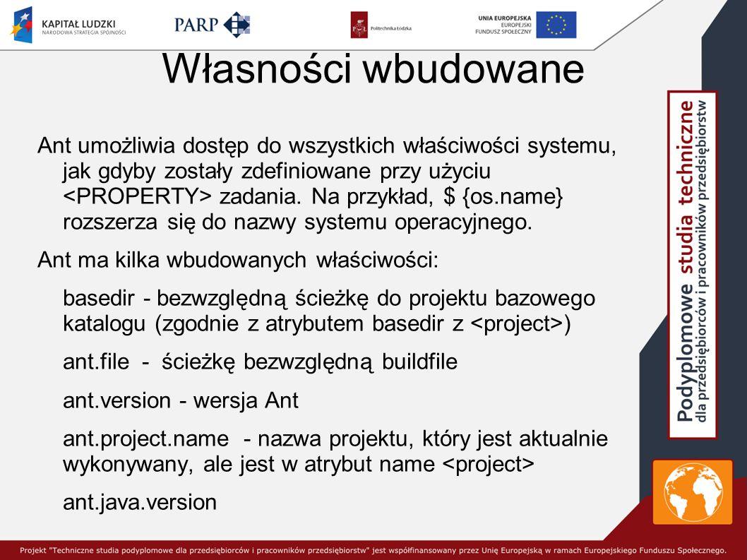 Własności wbudowane Ant umożliwia dostęp do wszystkich właściwości systemu, jak gdyby zostały zdefiniowane przy użyciu zadania.
