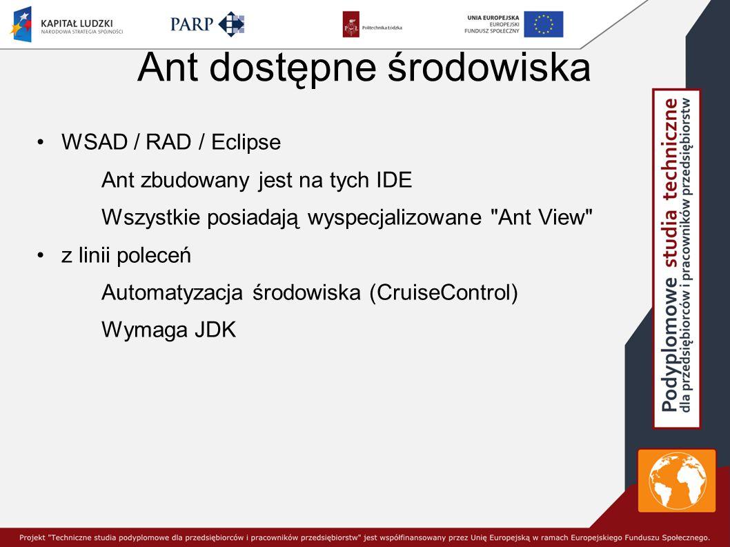 Ant dostępne środowiska WSAD / RAD / Eclipse Ant zbudowany jest na tych IDE Wszystkie posiadają wyspecjalizowane Ant View z linii poleceń Automatyzacja środowiska (CruiseControl) Wymaga JDK