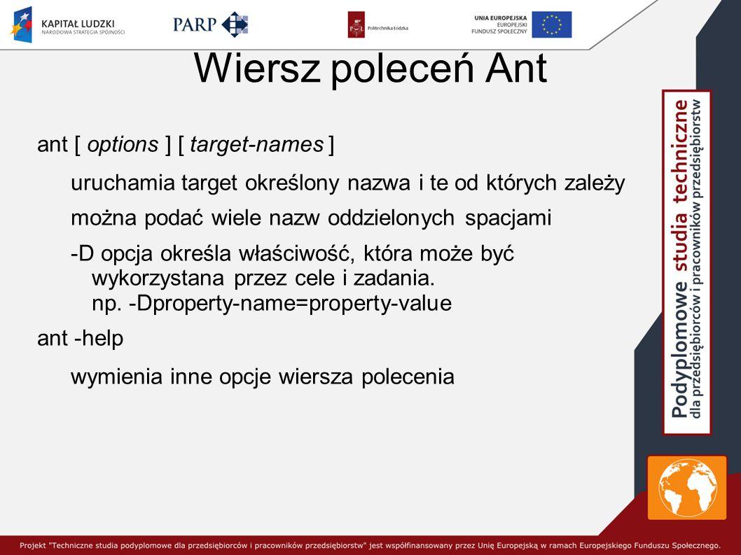 Wiersz poleceń Ant ant [ options ] [ target-names ] uruchamia target określony nazwa i te od których zależy można podać wiele nazw oddzielonych spacjami -D opcja określa właściwość, która może być wykorzystana przez cele i zadania.