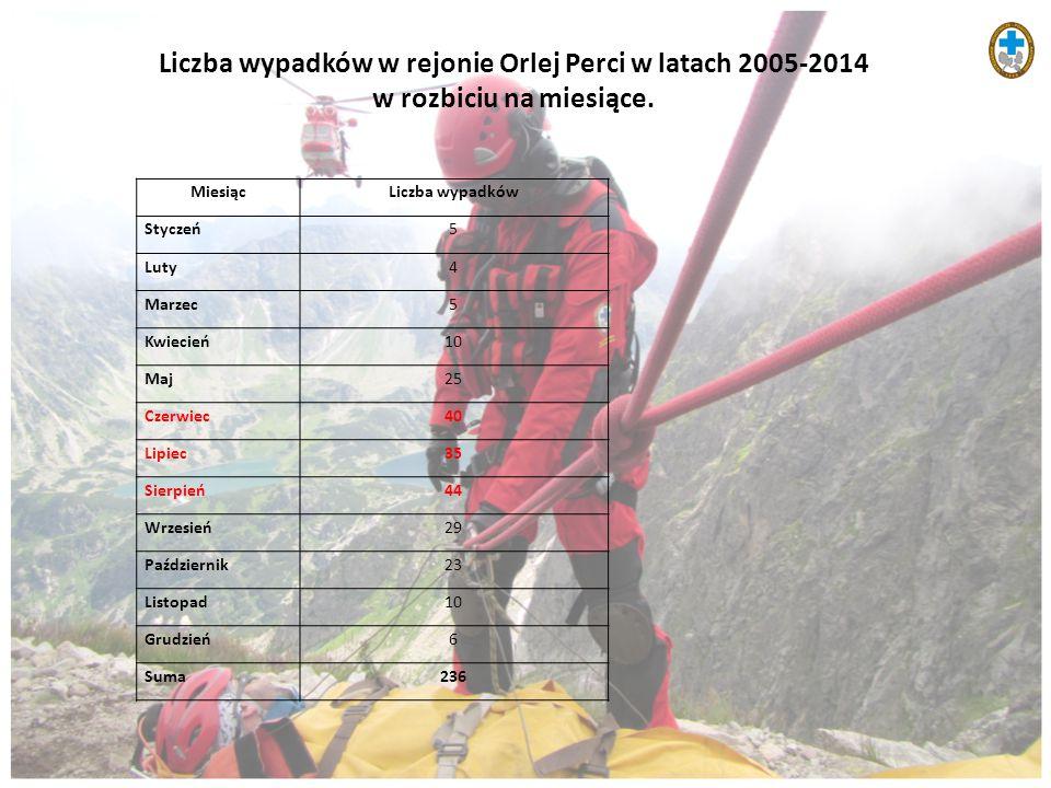 Liczba wypadków w rejonie Orlej Perci w latach 2005-2014 w rozbiciu na miesiące. MiesiącLiczba wypadków Styczeń5 Luty4 Marzec5 Kwiecień10 Maj25 Czerwi