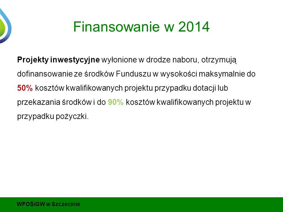 Finansowanie w 2014 Projekty inwestycyjne wyłonione w drodze naboru, otrzymują dofinansowanie ze środków Funduszu w wysokości maksymalnie do 50% kosztów kwalifikowanych projektu przypadku dotacji lub przekazania środków i do 90% kosztów kwalifikowanych projektu w przypadku pożyczki.