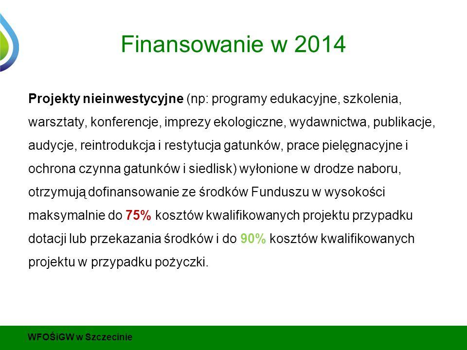 Finansowanie w 2014 Projekty nieinwestycyjne (np: programy edukacyjne, szkolenia, warsztaty, konferencje, imprezy ekologiczne, wydawnictwa, publikacje, audycje, reintrodukcja i restytucja gatunków, prace pielęgnacyjne i ochrona czynna gatunków i siedlisk) wyłonione w drodze naboru, otrzymują dofinansowanie ze środków Funduszu w wysokości maksymalnie do 75% kosztów kwalifikowanych projektu przypadku dotacji lub przekazania środków i do 90% kosztów kwalifikowanych projektu w przypadku pożyczki.