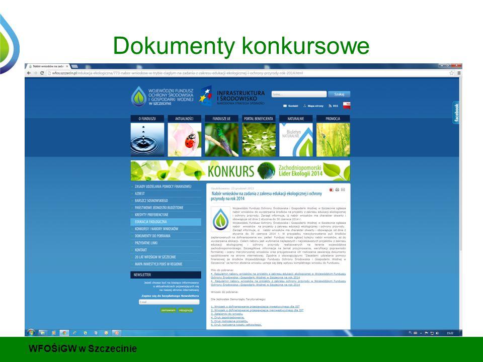Dokumenty konkursowe WFOŚiGW w Szczecinie