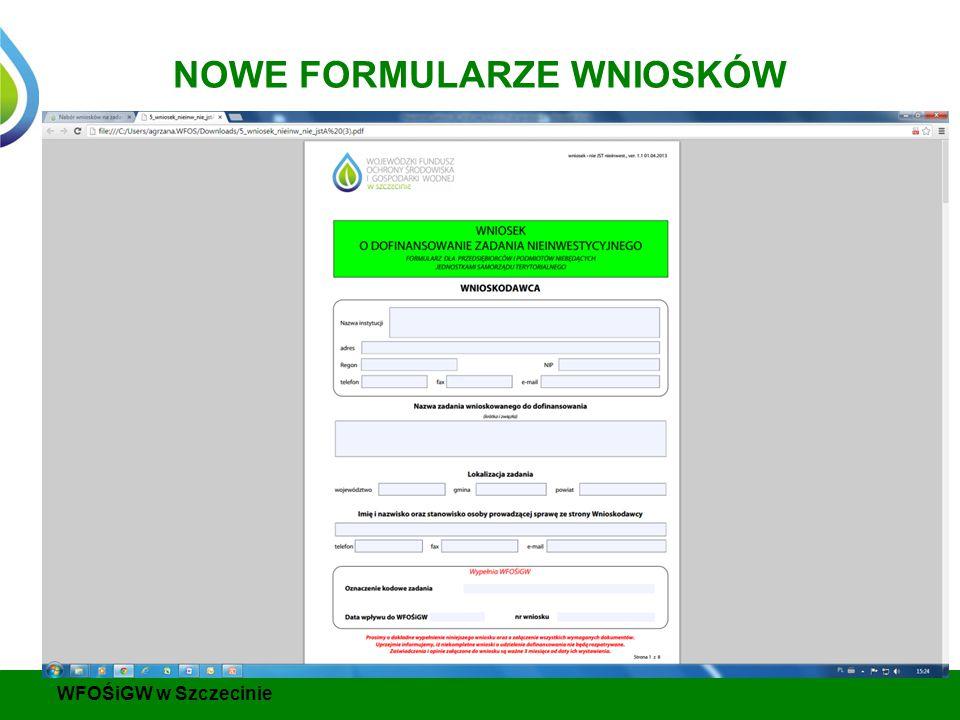NOWE FORMULARZE WNIOSKÓW WFOŚiGW w Szczecinie