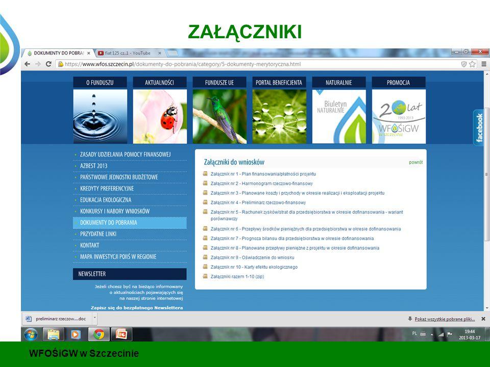ZAŁĄCZNIKI WFOŚiGW w Szczecinie