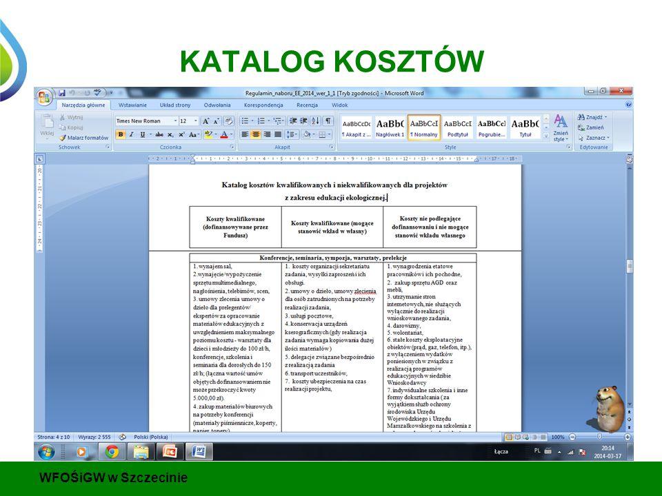 KATALOG KOSZTÓW WFOŚiGW w Szczecinie