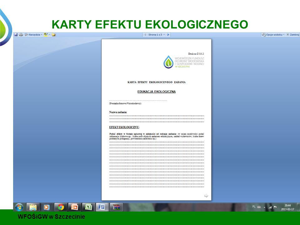 KARTY EFEKTU EKOLOGICZNEGO WFOŚiGW w Szczecinie
