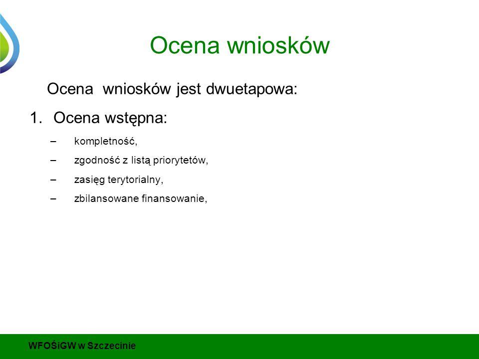 Ocena wniosków Ocena wniosków jest dwuetapowa: 1.Ocena wstępna: –kompletność, –zgodność z listą priorytetów, –zasięg terytorialny, –zbilansowane finansowanie, WFOŚiGW w Szczecinie