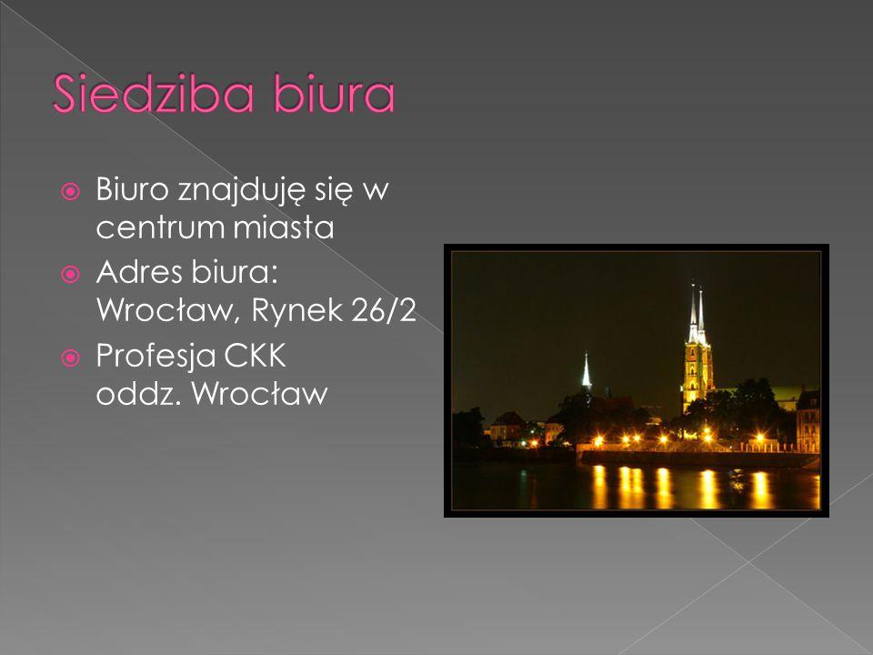  Biuro znajduję się w centrum miasta  Adres biura: Wrocław, Rynek 26/2  Profesja CKK oddz. Wrocław