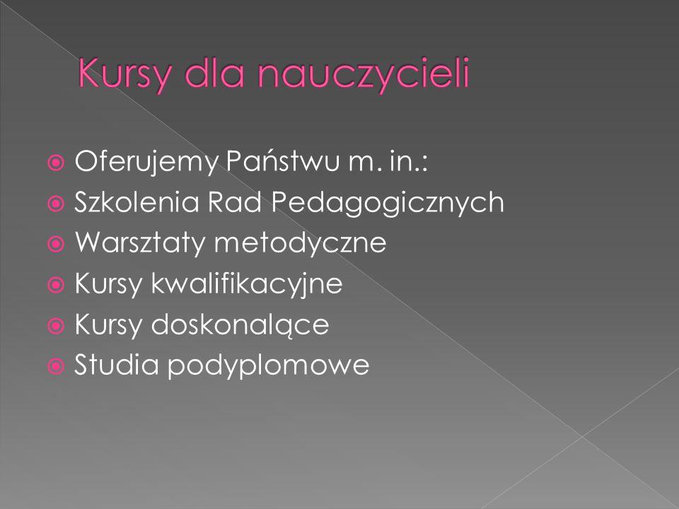  Angielski (FCE, CAE, CPE, BEC)  Niemiecki (ZD,ZMP,ZOP,ZDFB)  Francuski (DELF, DFA)  Włoski (CILS)  Rosyjski  kursy grupowe i indywidualne  kursy standardowe i intensywne  kursy dla dzieci (nauka z elementami zabawy)  n@uka z dydaktycznym wykorzystaniem Internetu.