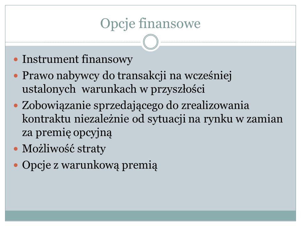 Opcje finansowe Instrument finansowy Prawo nabywcy do transakcji na wcześniej ustalonych warunkach w przyszłości Zobowiązanie sprzedającego do zrealiz