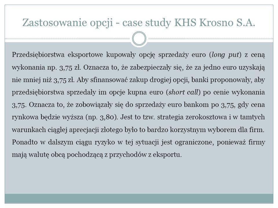 Zastosowanie opcji - case study KHS Krosno S.A. Przedsiębiorstwa eksportowe kupowały opcję sprzedaży euro (long put) z ceną wykonania np. 3,75 zł. Ozn