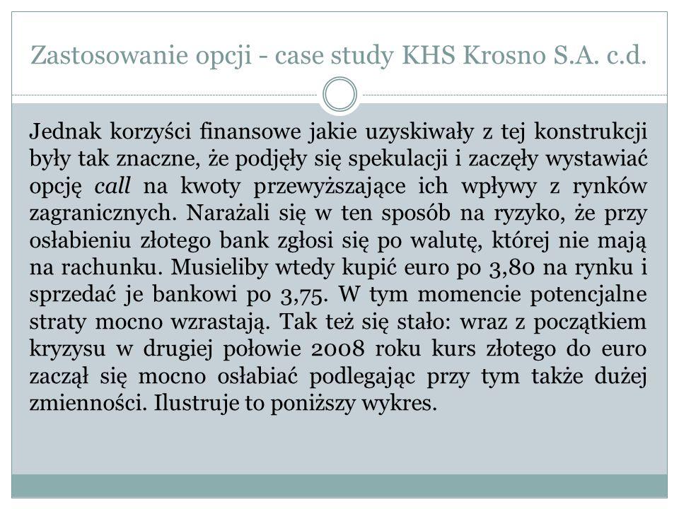 Zastosowanie opcji - case study KHS Krosno S.A. c.d. Jednak korzyści finansowe jakie uzyskiwały z tej konstrukcji były tak znaczne, że podjęły się spe