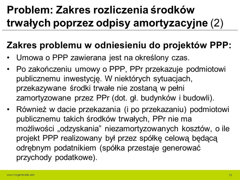 www.hoganlovells.com Problem: Zakres rozliczenia środków trwałych poprzez odpisy amortyzacyjne (2) Zakres problemu w odniesieniu do projektów PPP: Umowa o PPP zawierana jest na określony czas.