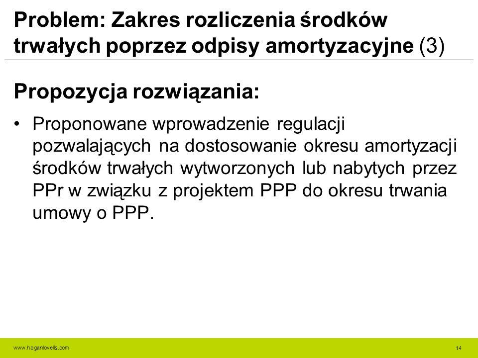 www.hoganlovells.com Problem: Zakres rozliczenia środków trwałych poprzez odpisy amortyzacyjne (3) Propozycja rozwiązania: Proponowane wprowadzenie regulacji pozwalających na dostosowanie okresu amortyzacji środków trwałych wytworzonych lub nabytych przez PPr w związku z projektem PPP do okresu trwania umowy o PPP.