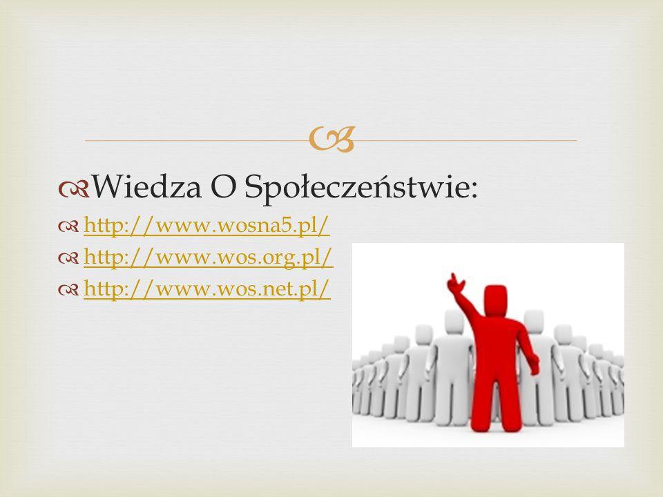   Wiedza O Społeczeństwie:  http://www.wosna5.pl/ http://www.wosna5.pl/  http://www.wos.org.pl/ http://www.wos.org.pl/  http://www.wos.net.pl/ http://www.wos.net.pl/