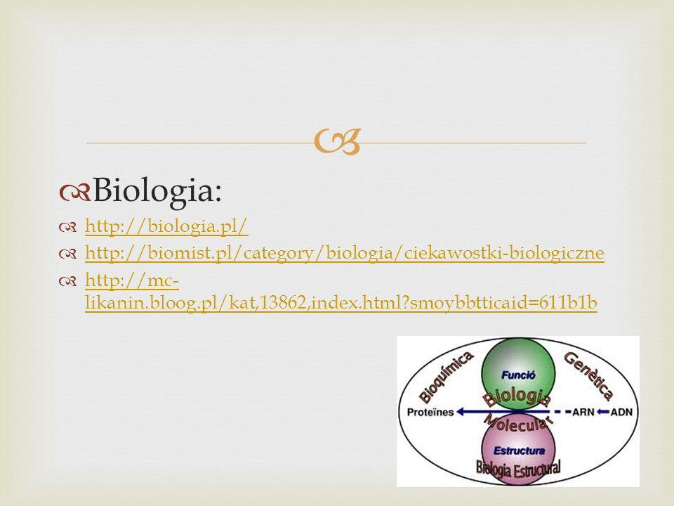   Biologia:  http://biologia.pl/ http://biologia.pl/  http://biomist.pl/category/biologia/ciekawostki-biologiczne http://biomist.pl/category/biologia/ciekawostki-biologiczne  http://mc- likanin.bloog.pl/kat,13862,index.html smoybbtticaid=611b1b http://mc- likanin.bloog.pl/kat,13862,index.html smoybbtticaid=611b1b