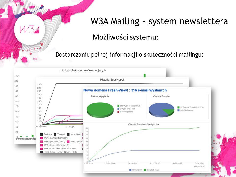 W3A Mailing - system newslettera Możliwości systemu: Dostarczaniu pełnej informacji o skuteczności mailingu: