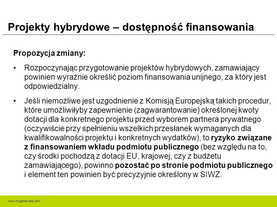 www.hoganlovells.com Projekty hybrydowe – dostępność finansowania Propozycja zmiany: Rozpoczynając przygotowanie projektów hybrydowych, zamawiający powinien wyraźnie określić poziom finansowania unijnego, za który jest odpowiedzialny.