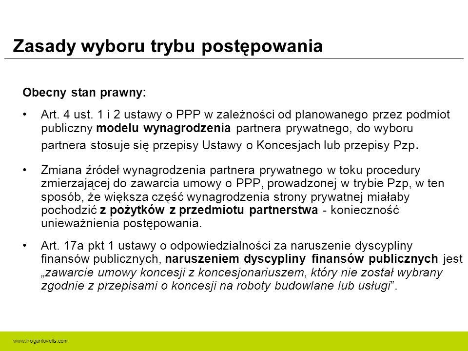 www.hoganlovells.com Zasady wyboru trybu postępowania Obecny stan prawny: Art. 4 ust. 1 i 2 ustawy o PPP w zależności od planowanego przez podmiot pub