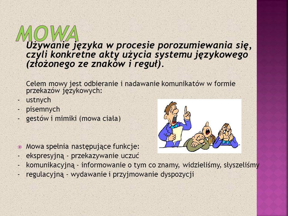 Używanie języka w procesie porozumiewania się, czyli konkretne akty użycia systemu językowego (złożonego ze znaków i reguł). Celem mowy jest odbierani