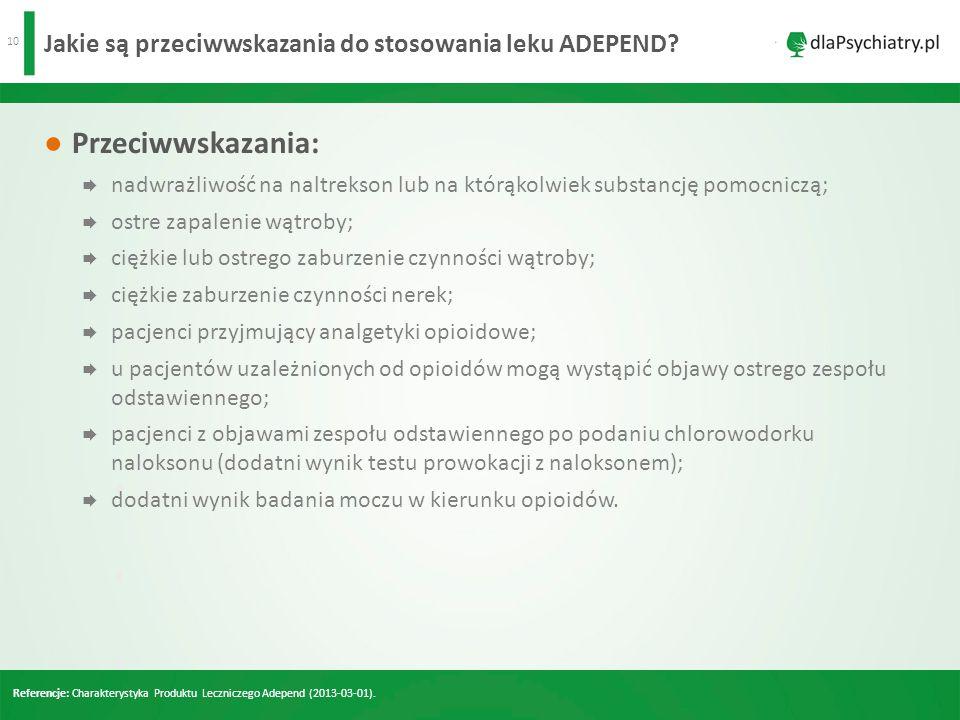 10 Jakie są przeciwwskazania do stosowania leku ADEPEND.