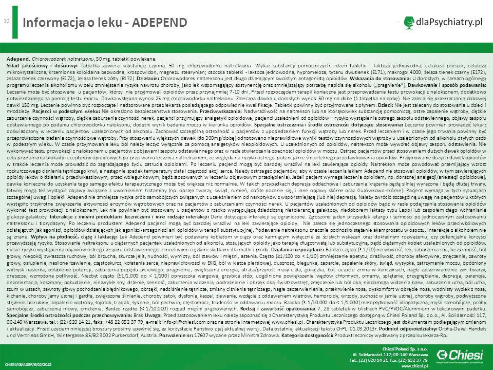 12 Informacja o leku - ADEPEND Adepend, Chlorowodorek naltreksonu, 50 mg, tabletki powlekane.