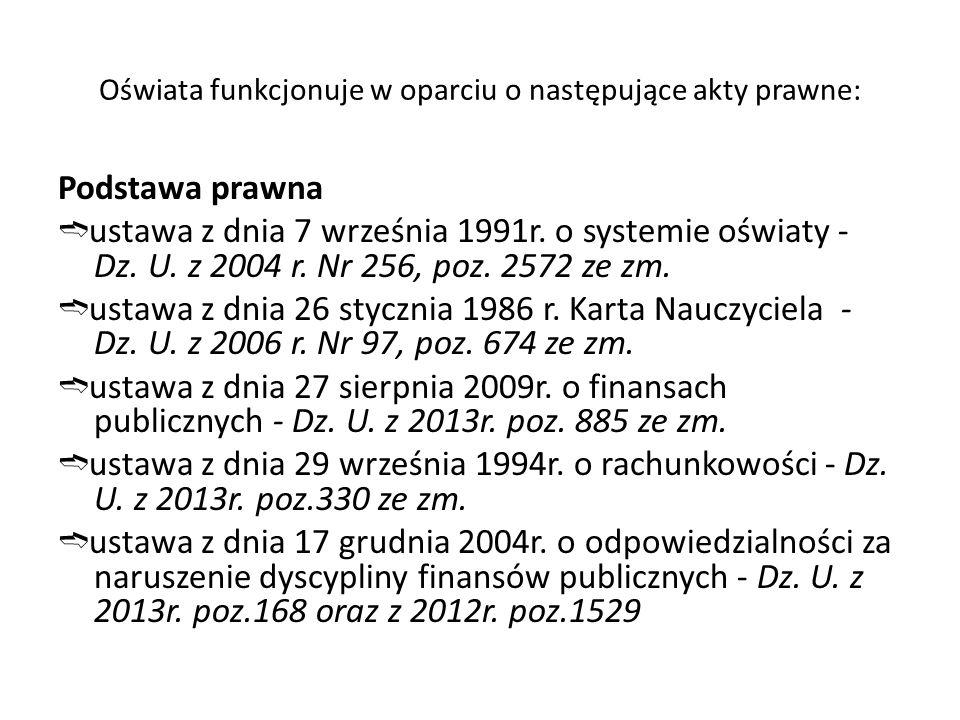 Oświata funkcjonuje w oparciu o następujące akty prawne: Podstawa prawna ➬ ustawa z dnia 7 września 1991r.